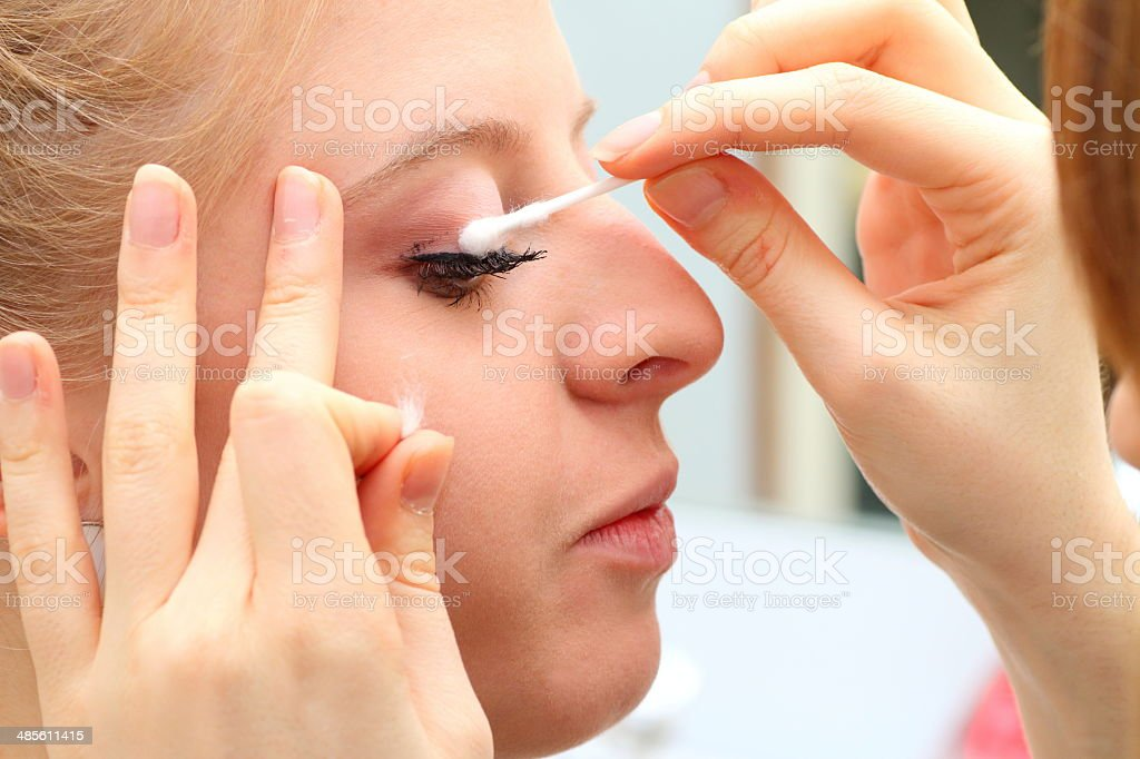 Makeup artist in backstage stock photo