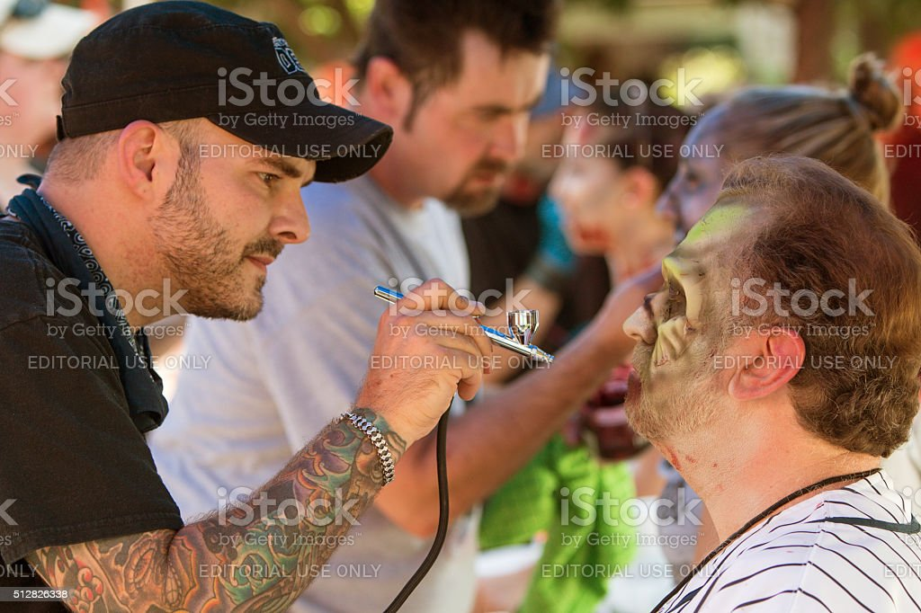 Makeup Artists Give Participants Zombie Makeovers Before Atlanta Event stock photo