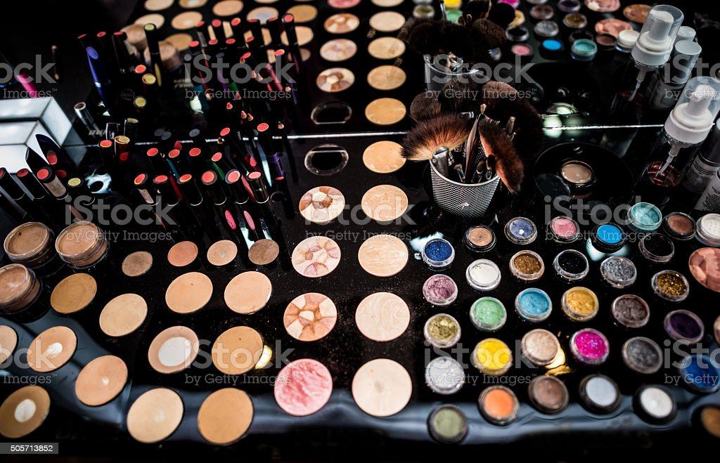 Makeup at a beauty store stock photo