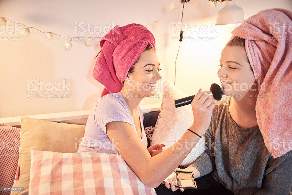 make-up blusher brush stock photo