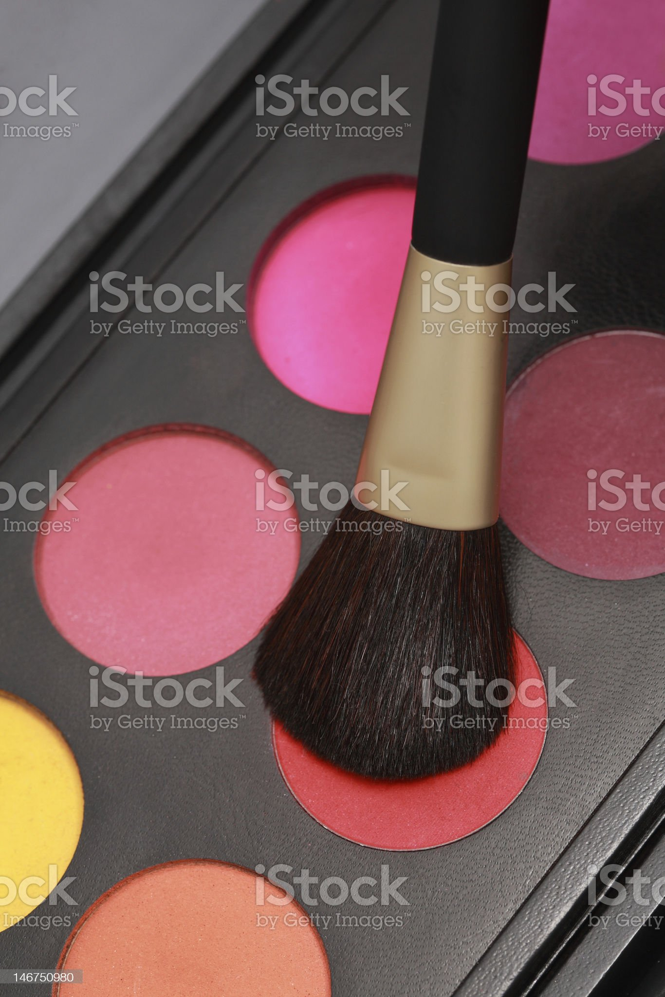make-up brush and colors royalty-free stock photo