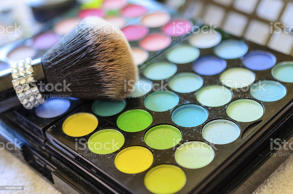 Makeup brush and colors stock photo