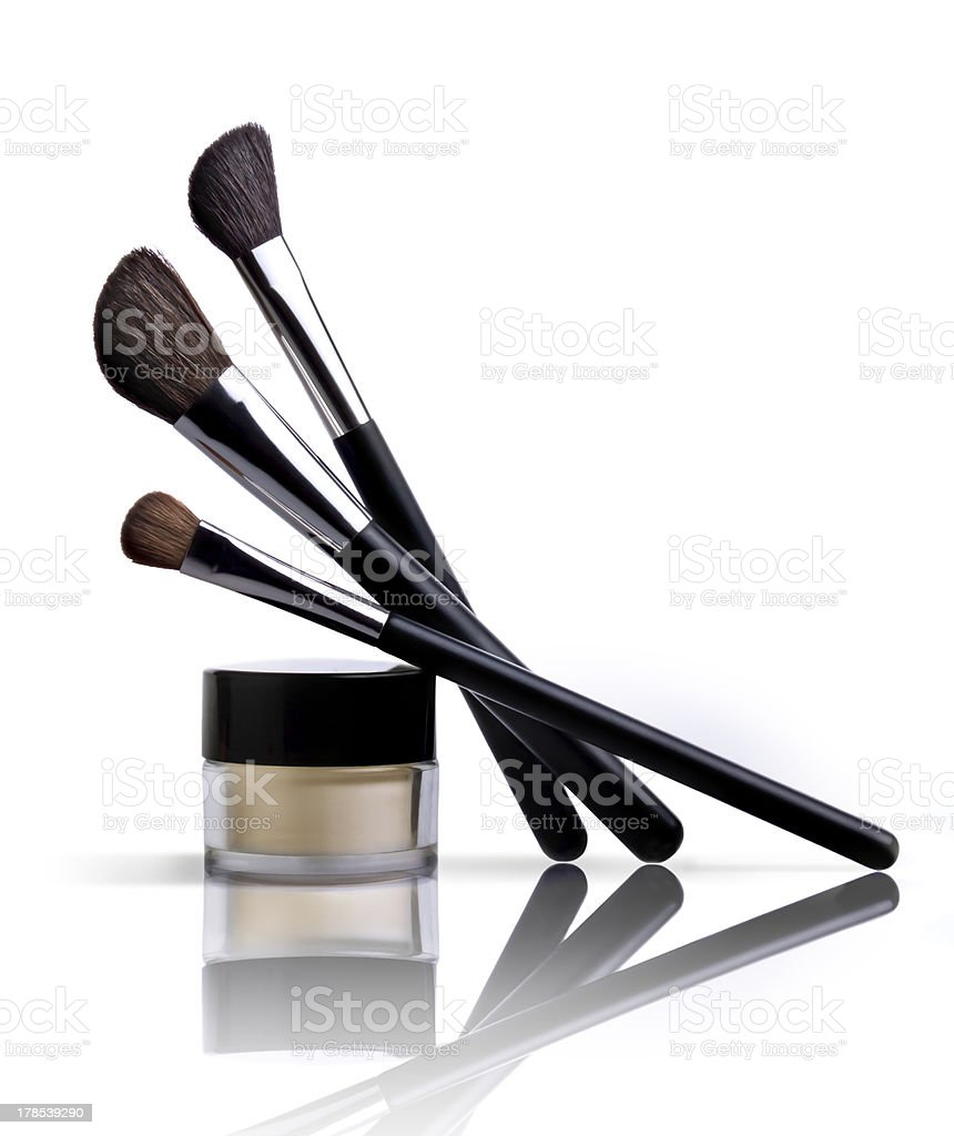 makeup brush and cosmetic skin foundation royalty-free stock photo