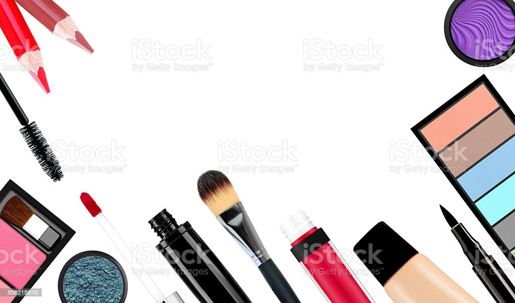 makeup brush and cosmetics, on a white background isolated, with stock photo