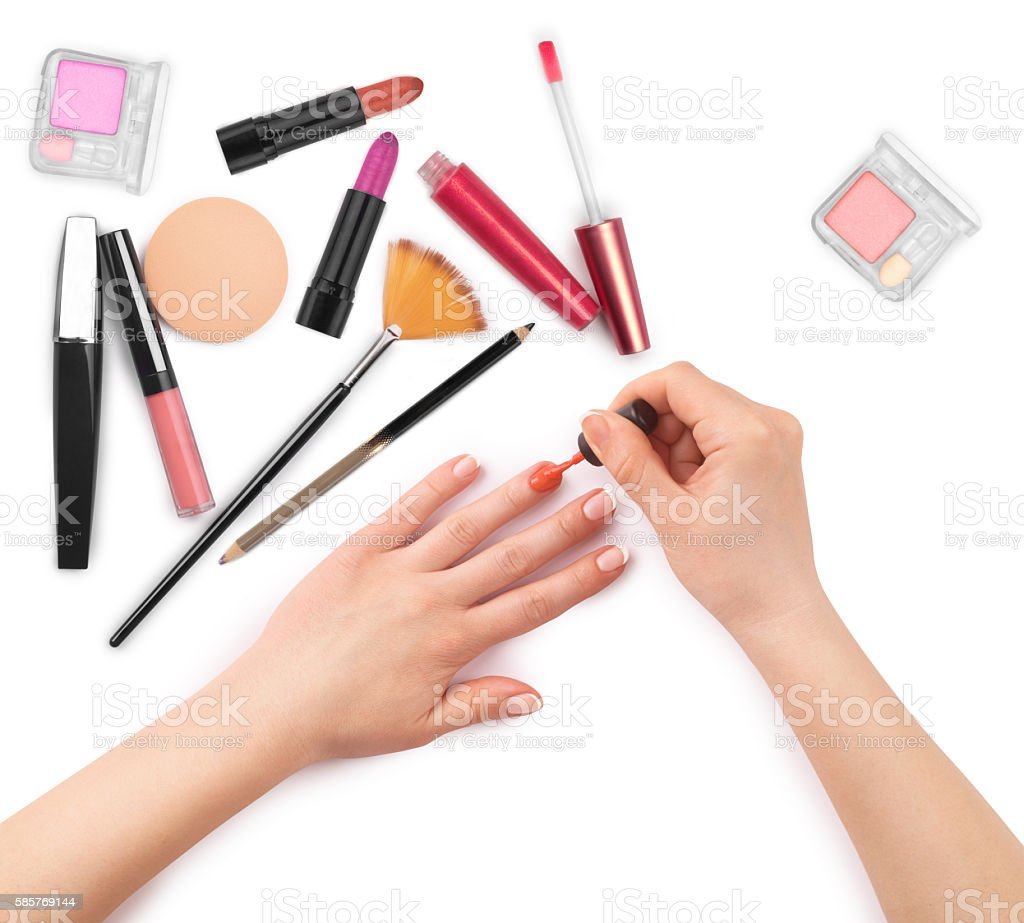 makeup brush and cosmetics stock photo