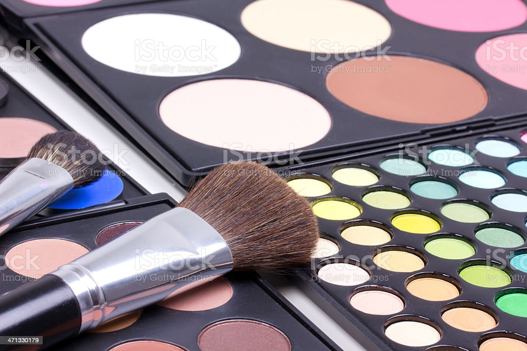 Make-up brush on blush palettes, backstage royalty-free stock photo