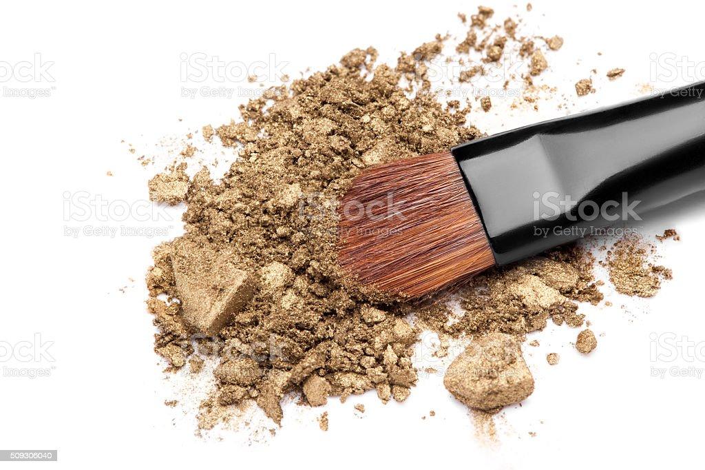 make-up brush on  eyeshadow stock photo