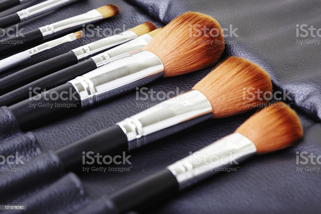 Makeup brush set royalty-free stock photo
