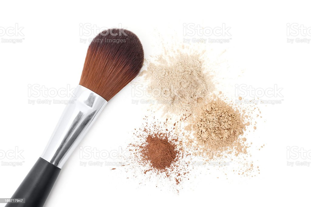 Makeup Brush with Face Powders royalty-free stock photo