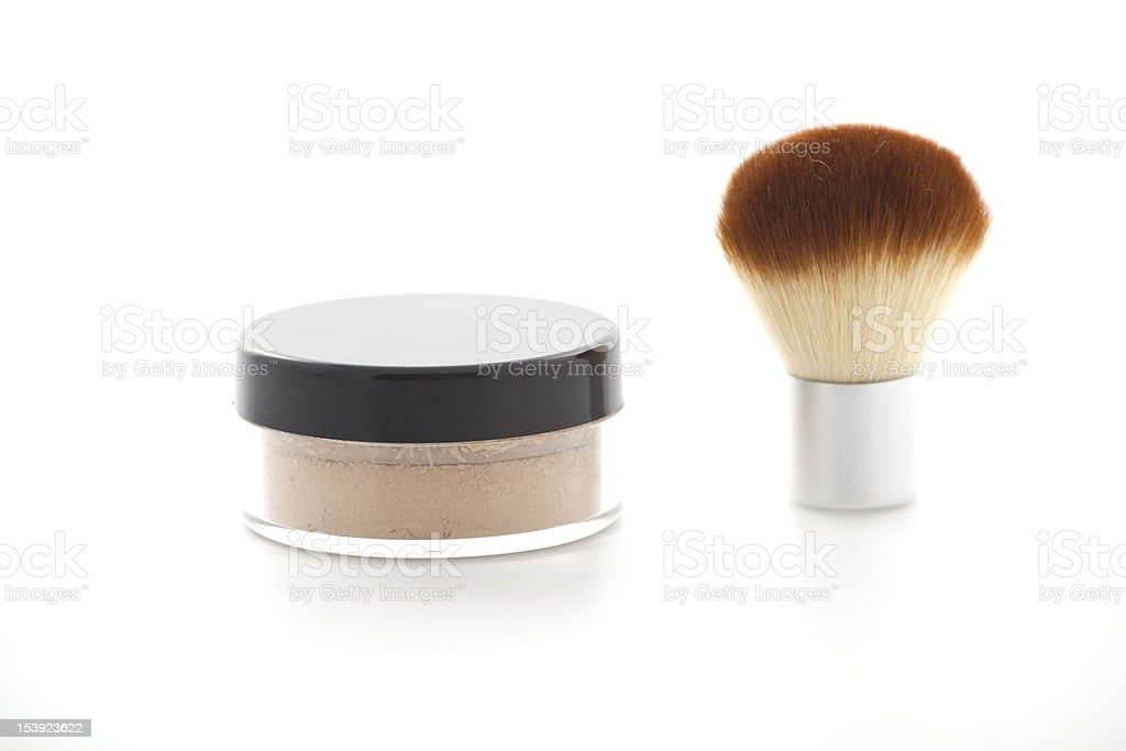Make-up brush with powder royalty-free stock photo