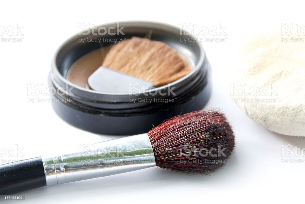 Makeup brush with powder royalty-free stock photo