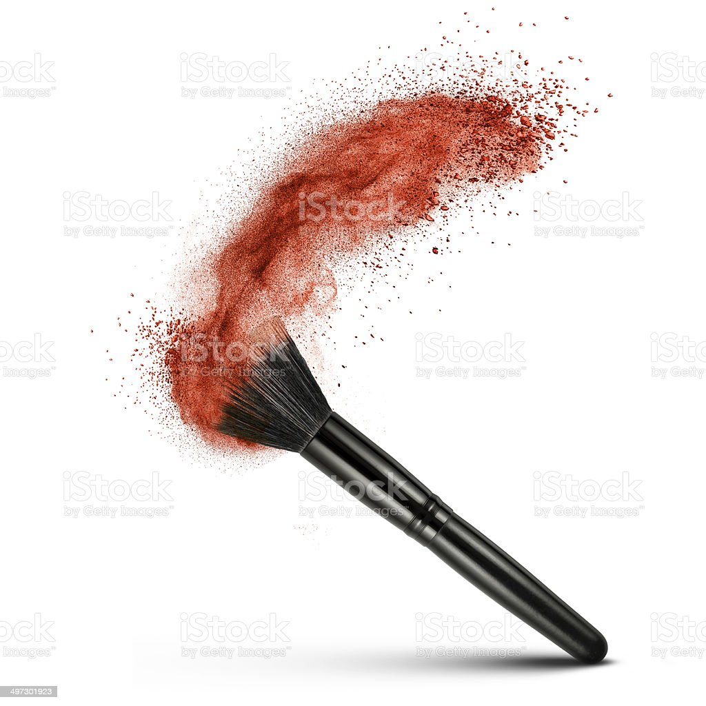 makeup brush with red powder isolated stock photo