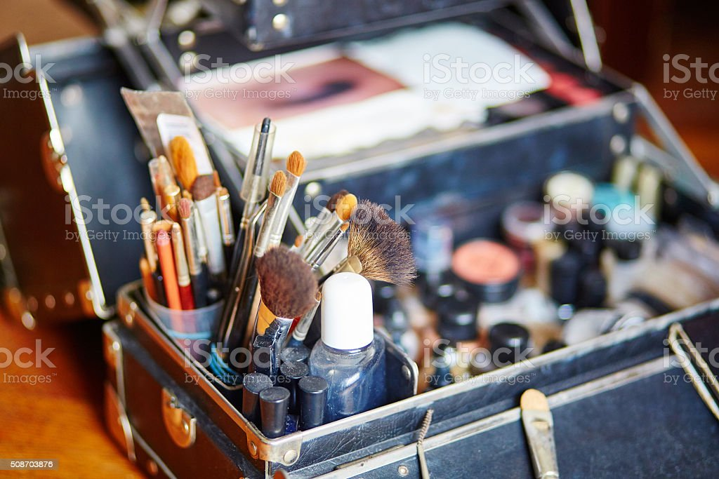 Makeup brushes in makeup artist case stock photo