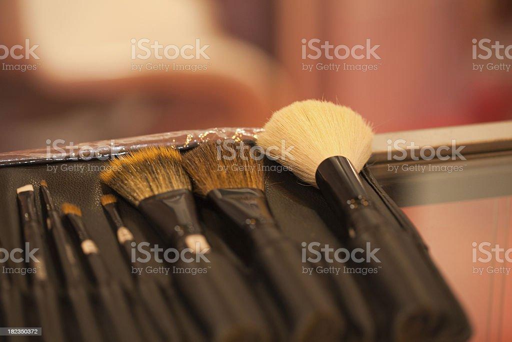 makeup brushes kit stock photo
