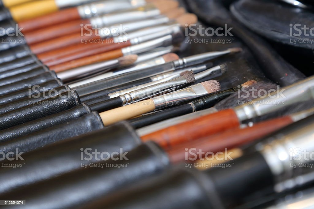 makeup brushes kit with pouch set stock photo