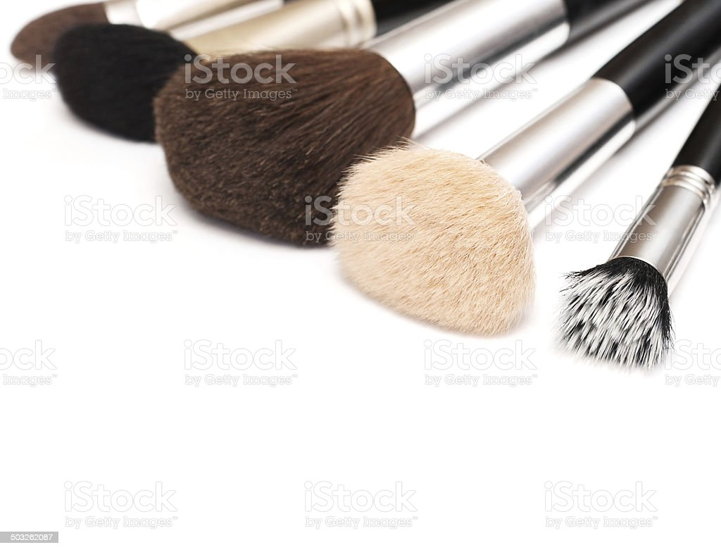 makeup brushes of different sizes and colors royalty-free stock photo