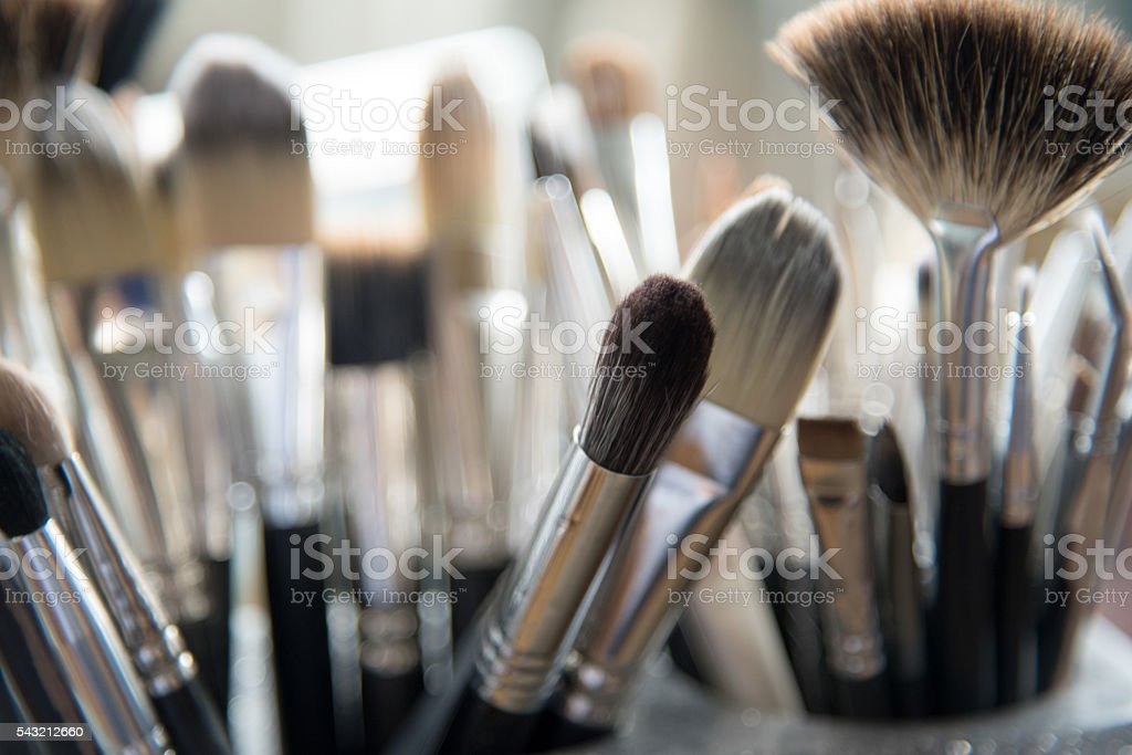 Makeup Brushes or Paint Brushes Standing Brush Bristle End Up stock photo