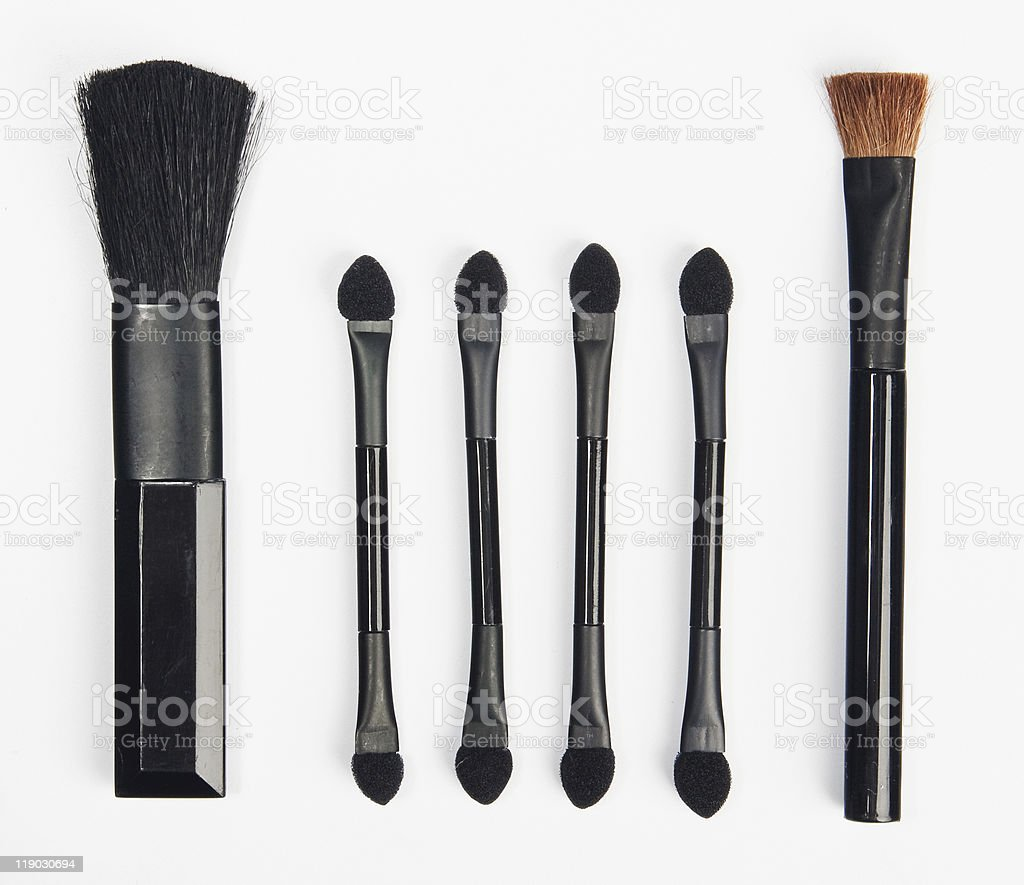 Makeup brushes set stock photo