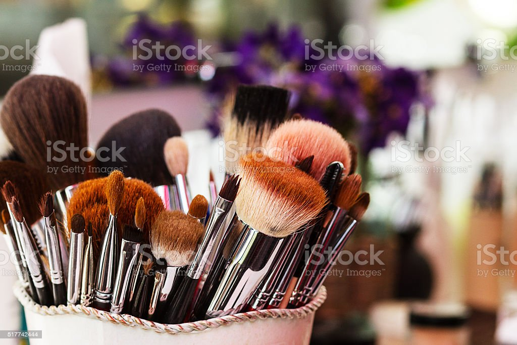 Makeup Brushes, workplace makeup artist stock photo