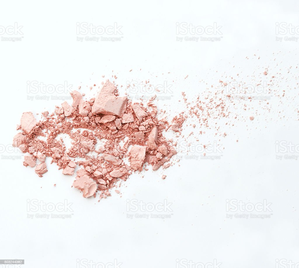 Makeup cheeks and eye. Pink Cosmetic powder on white background stock photo