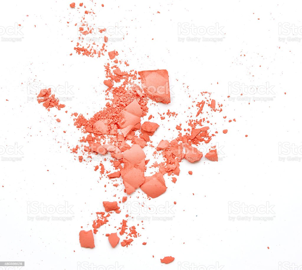 Makeup cheeks and eye. Pink Cosmetic powder on white stock photo