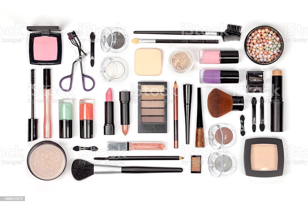 makeup cosmetics and brushes on white background stock photo