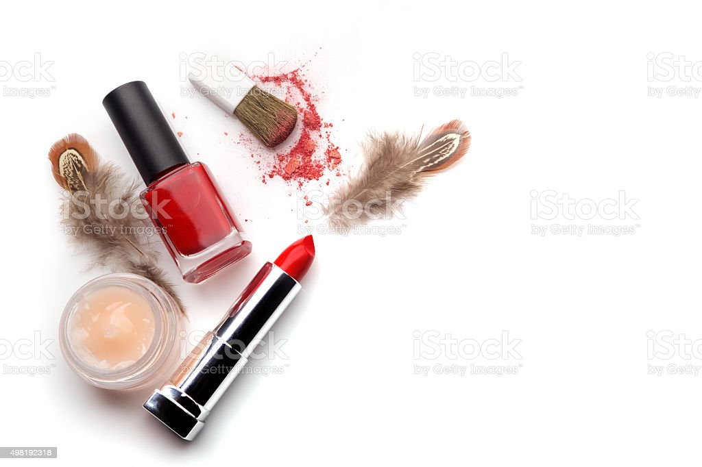 makeup cosmetics, on a white background stock photo