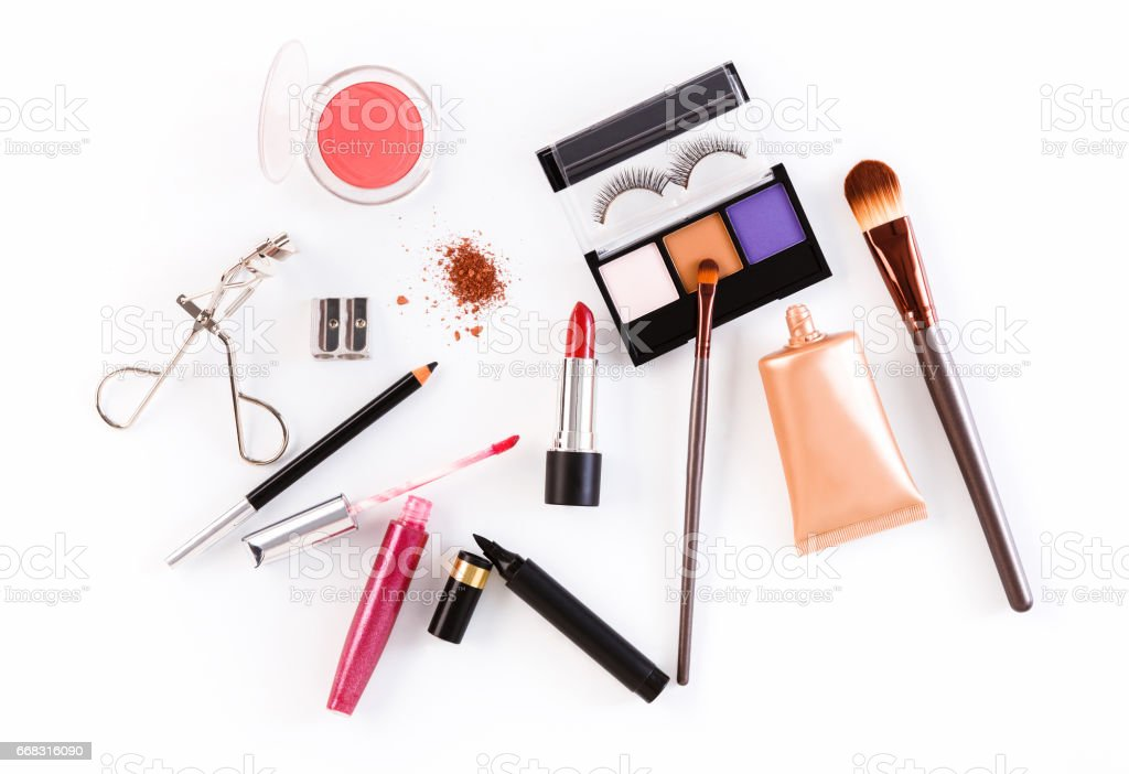 Makeup cosmetics tools and essentials, flat lay on white background stock photo