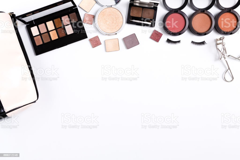 Makeup cosmetics tools and essentials frame background, copy space stock photo