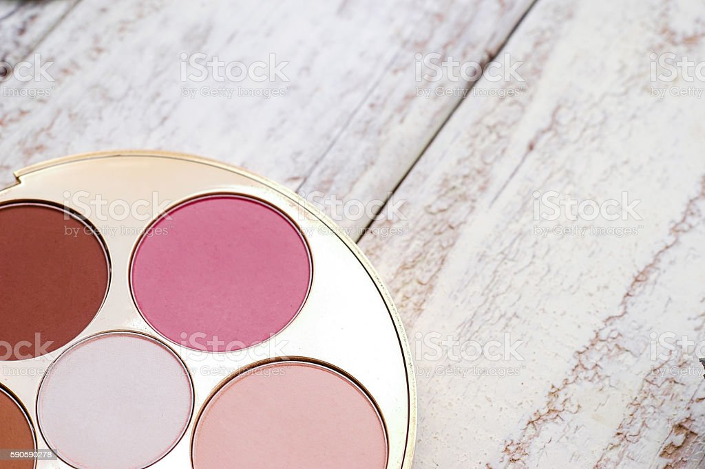 Makeup Cosmetics Vintage on White Wooden Background, Flat Lay Style stock photo