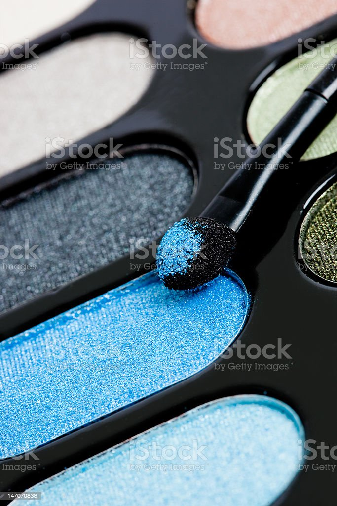 Maquiagem Pincel e cosmético eyeshadows foto de stock royalty-free