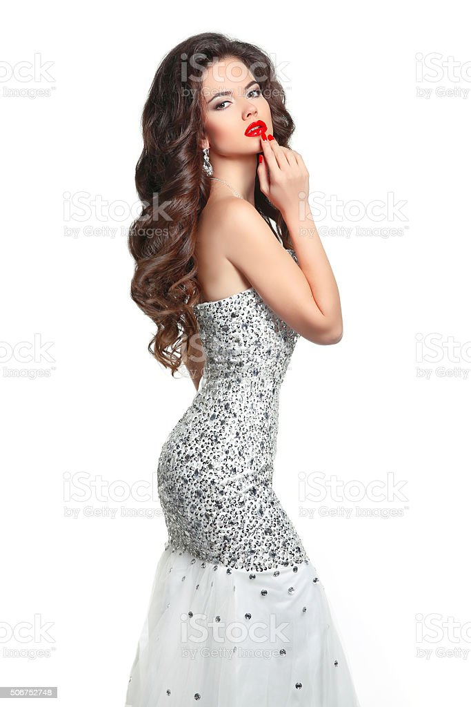 Makeup. Fashion Girl Model Dress. Beauty Glamour style woman stock photo