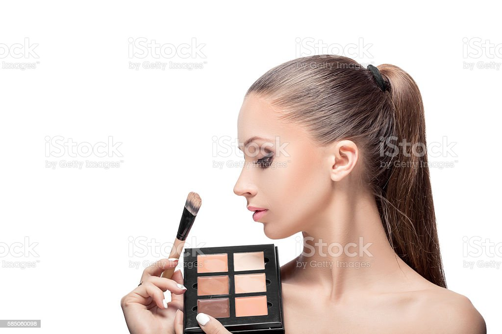 makeup for brunettes stock photo