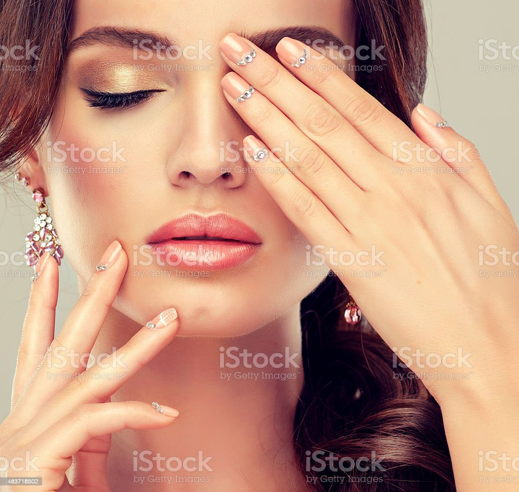Makeup for eyes and lips. stock photo