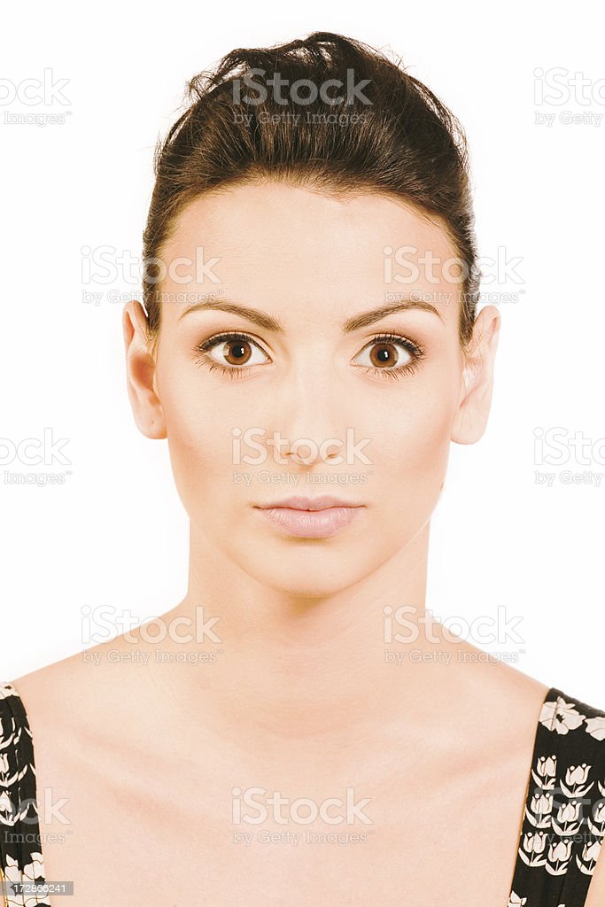 make-up instrusction - after eyeshadow royalty-free stock photo