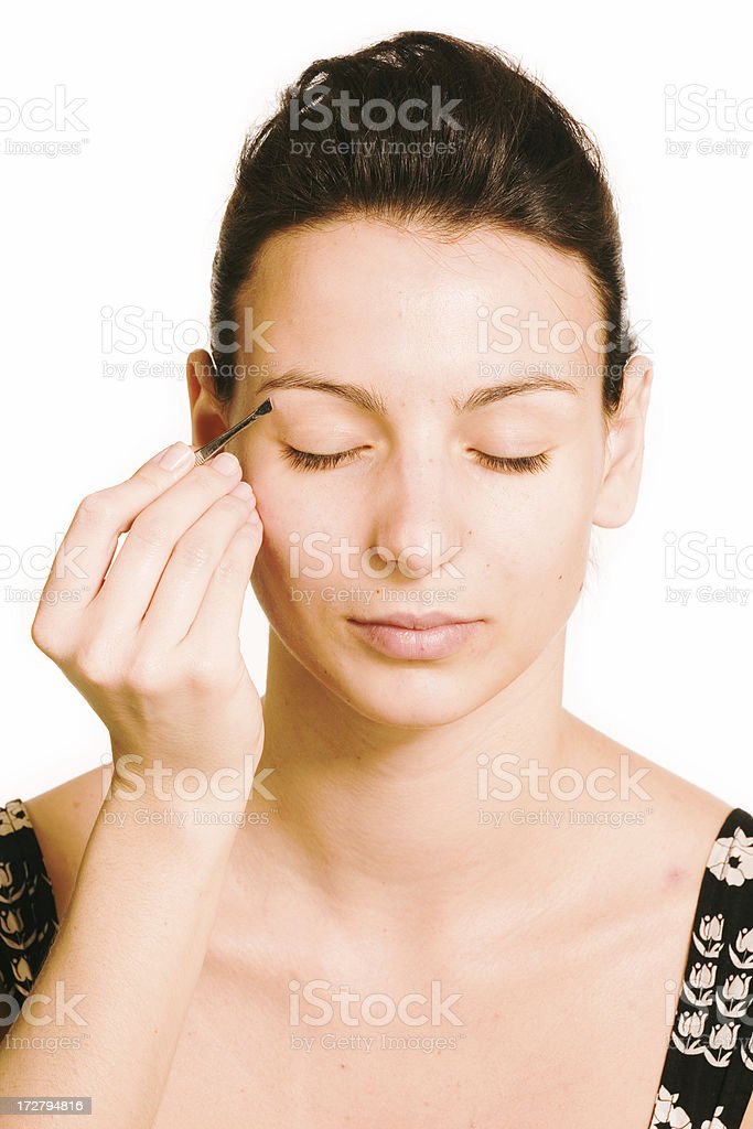 make-up instrusction - eyebrows royalty-free stock photo