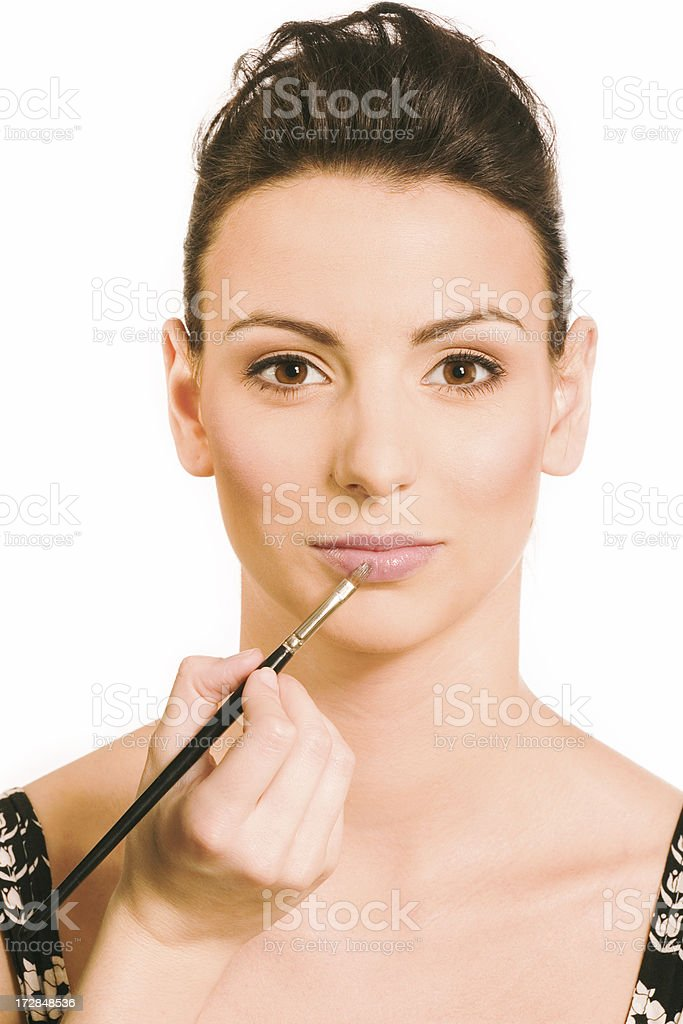 make-up instrusction - making lips royalty-free stock photo