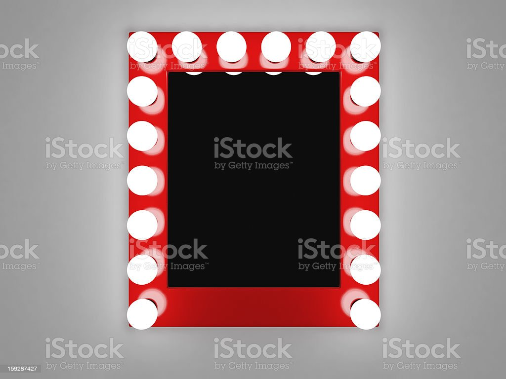 Makeup mirror with red frame and lights stock photo