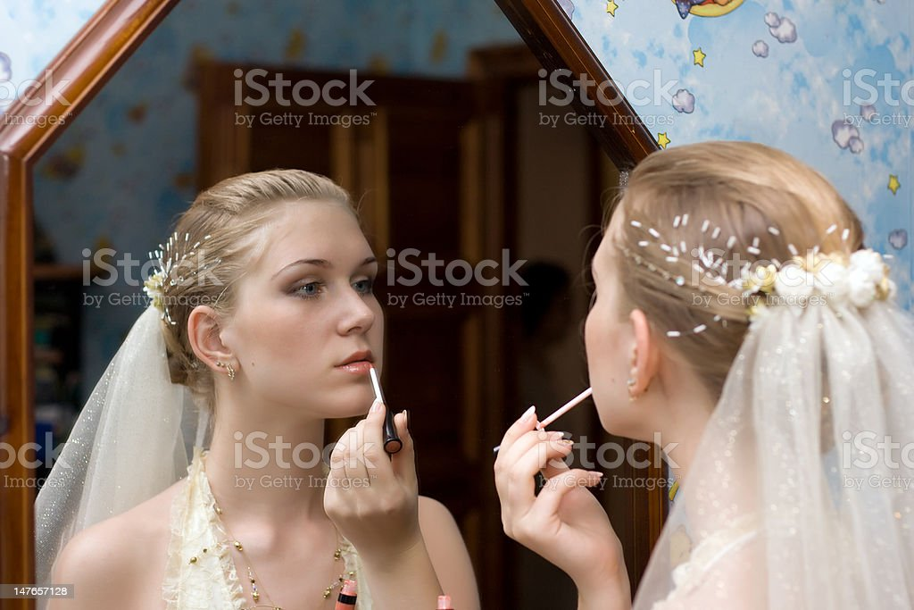 Make-up of the bride royalty-free stock photo