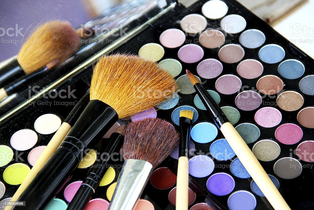 Makeup palette and brushes royalty-free stock photo