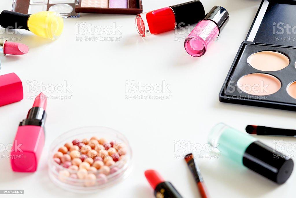 makeup pastel set on white backround stock photo