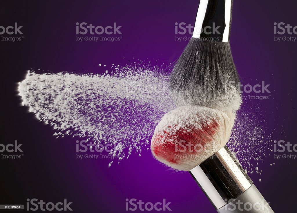 Makeup powder and brushes royalty-free stock photo