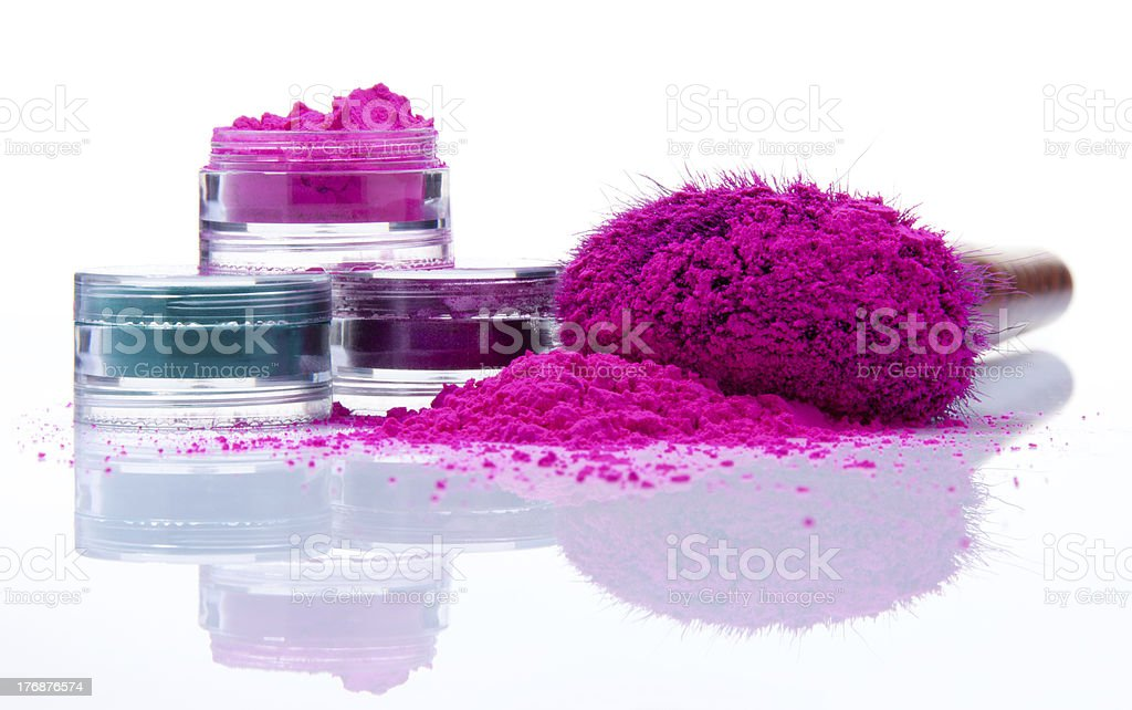 Makeup powder of different colors stock photo