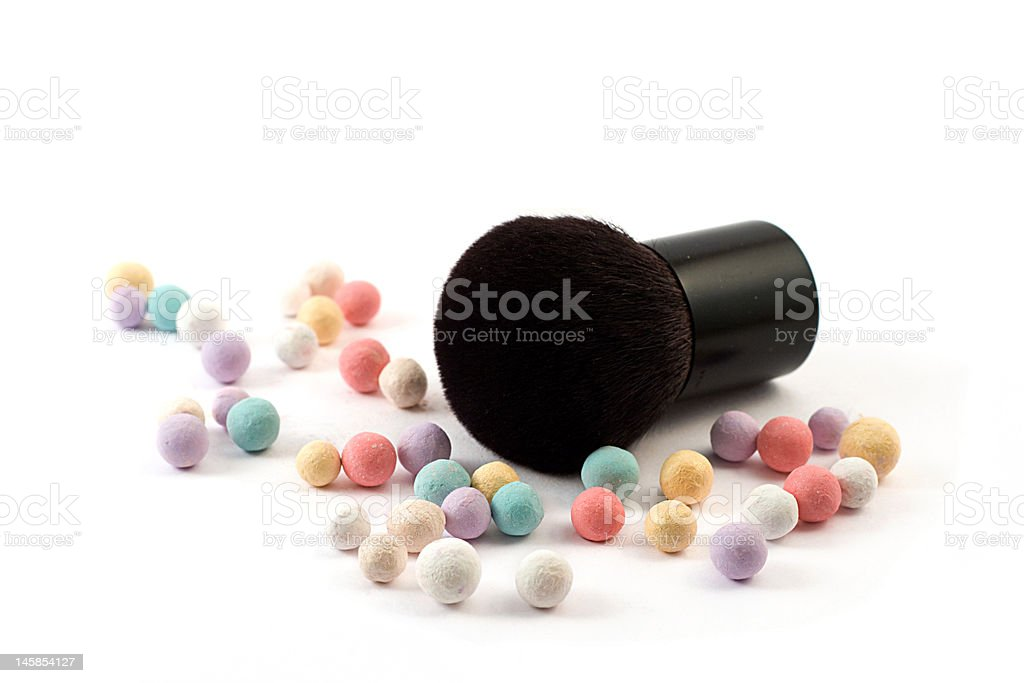 makeup powder with brush royalty-free stock photo