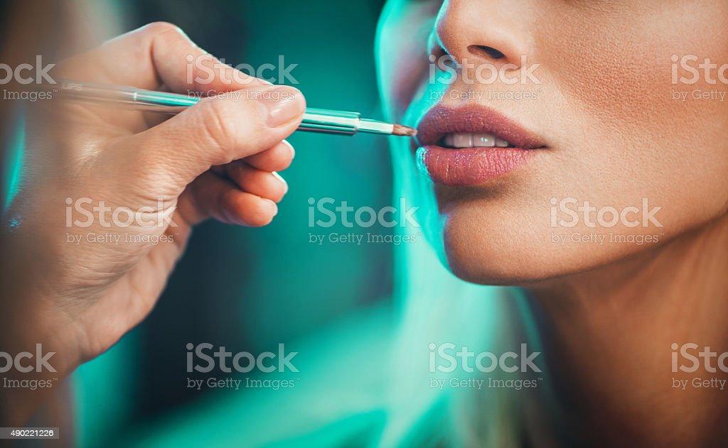 Makeup  procedure. stock photo