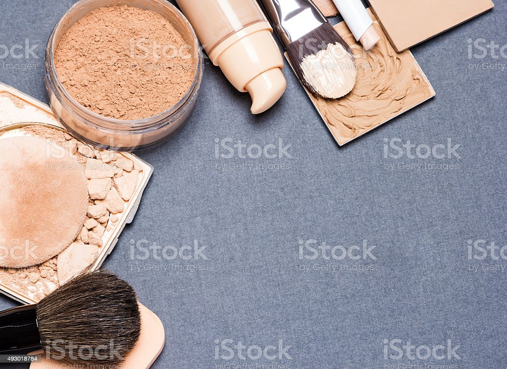 Makeup products to even out skin tone and complexion background stock photo