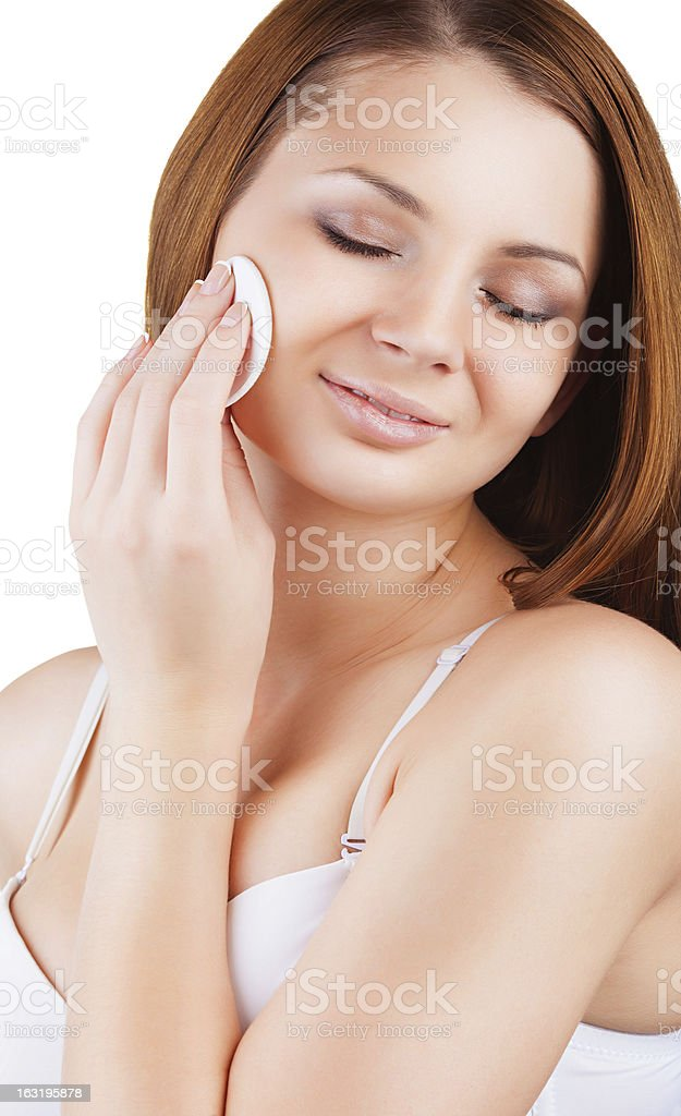 Make-up removal royalty-free stock photo
