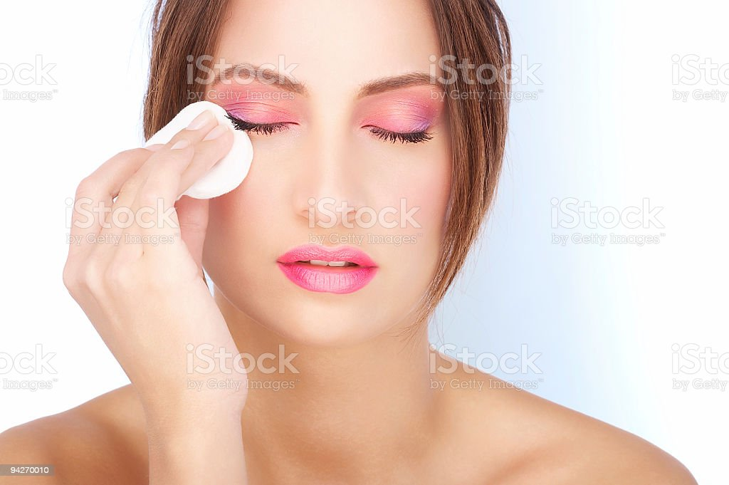 Makeup removal stock photo