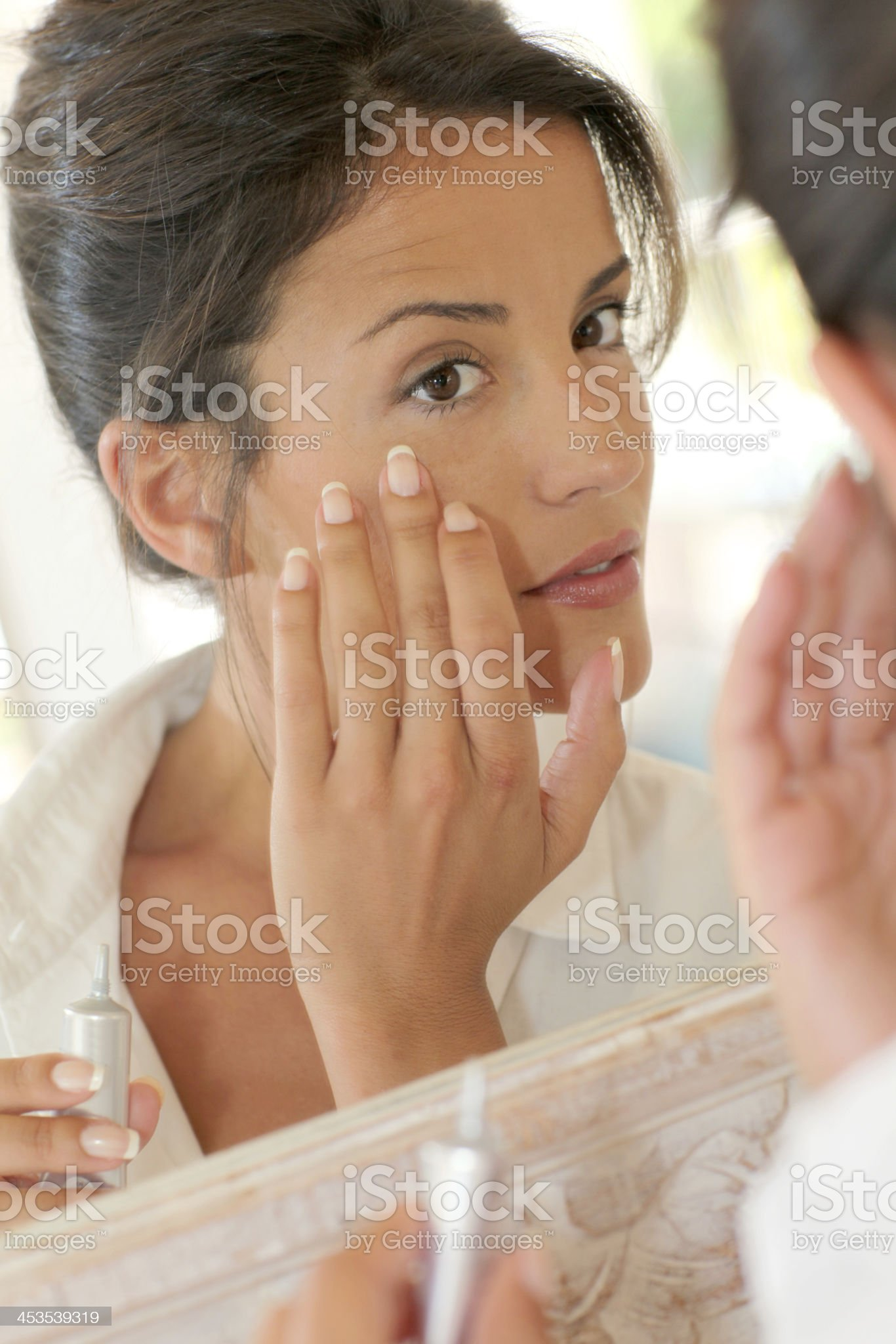 Makeup session for a pretty woman royalty-free stock photo