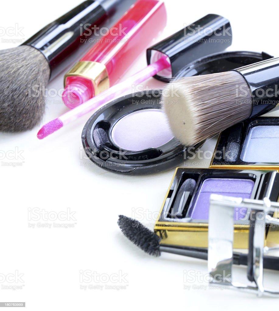 makeup set (shadows, lipstick, brush) royalty-free stock photo